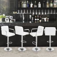 Two Modern Darcy Adjustable PU Leather White Bar Stools with Chrome Pedestal Leg